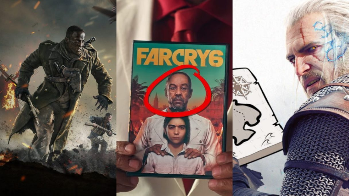 Żołnierz z Call of Duty: Vanguard, złol z Far Cry 6 trzyma w rękach grę Far Cry 6, Geralt zdziwiony trzyma mapę świata gry