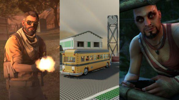 CS: GO operacja Riptide - gracz strzela z AK-47, mapa Nuketown odtworzona z klocków LEGO (Call of Duty) i Vaas z Far Cry 3 gra na telefonie