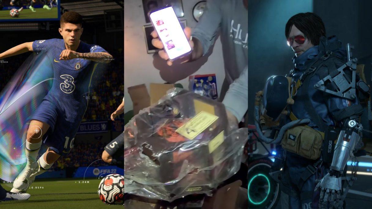 Piłkarz z FIFA 22, kupa gier odnaleziona w domu w stanie rozsypki, główny bohater z Death Stranding Director's Cut z mechaniczną ręką i okularami