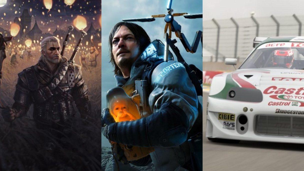 Wiedźmin 3: Dziki Gon - Geralt w polu ciągnie płotkę - główny bohater Death Stranding Director's Cut z dzieckiem w słoiku w rękach i Toyota Supra GT500 '97 (Castrol Tom's) jedzie po torze