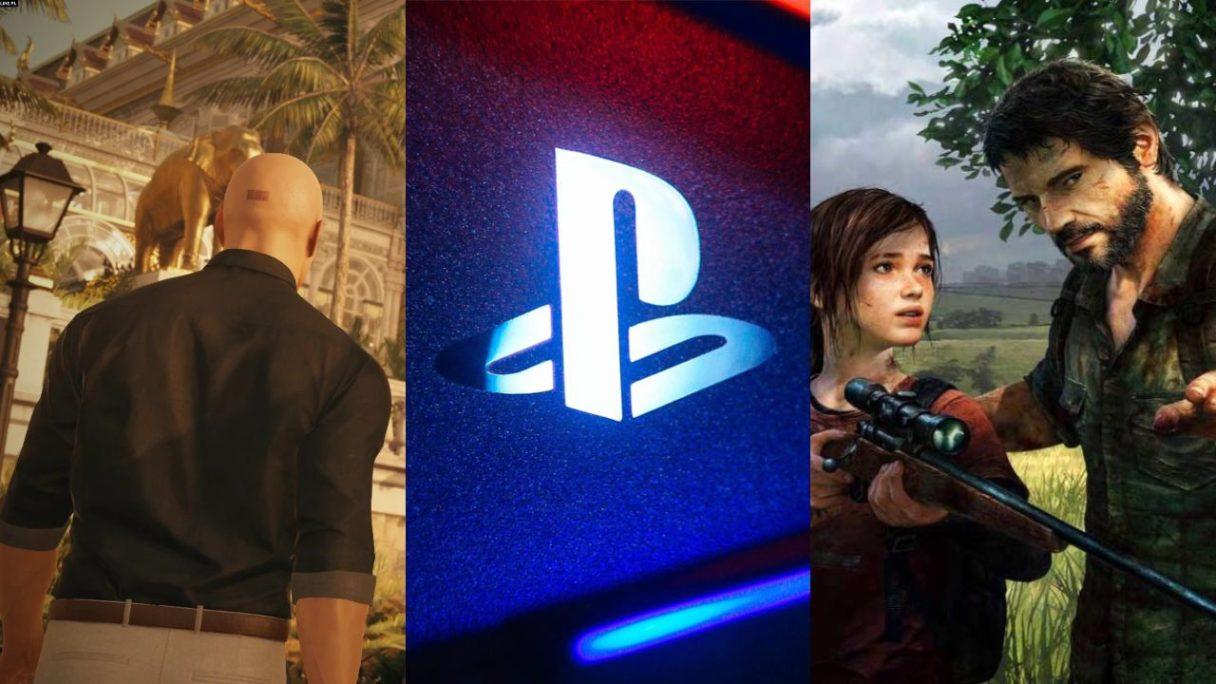 Hitman w ładnej koszuli idzie na ekskluzywną imprezę, podświetlone logo PlayStation, Ellie i Joel z The Last of Us uczą się strzelać