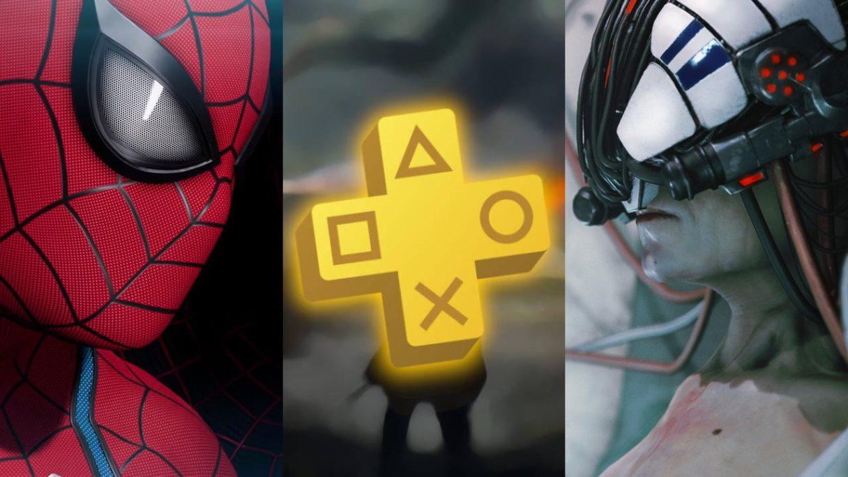 Spider-Man, logo PS Plus, kobieta z cybernetycznym hełmem na głowie z polskiej gry Observer