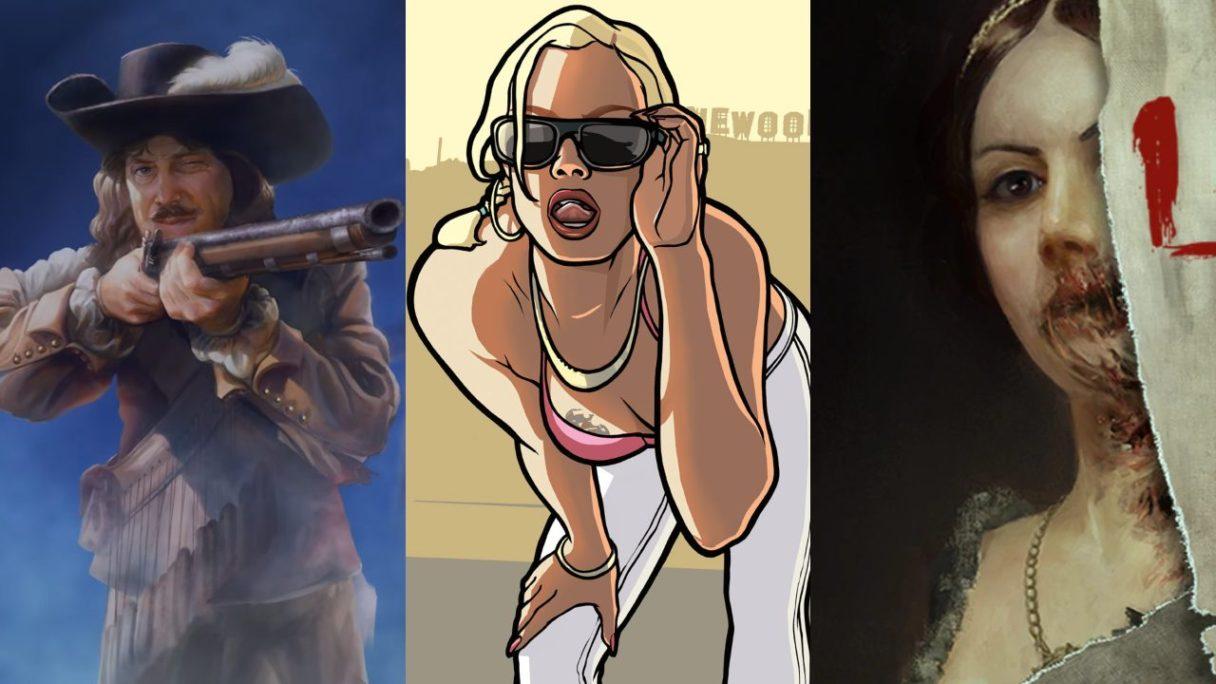 GTA Trilogy The Definitive Edition - Zamożny pan celuje z broni do dziewczyny z GTA San Andreas, która ma zmysłową minę. Po prawej stronie kadr obrazu kobiety z Layers of Fear