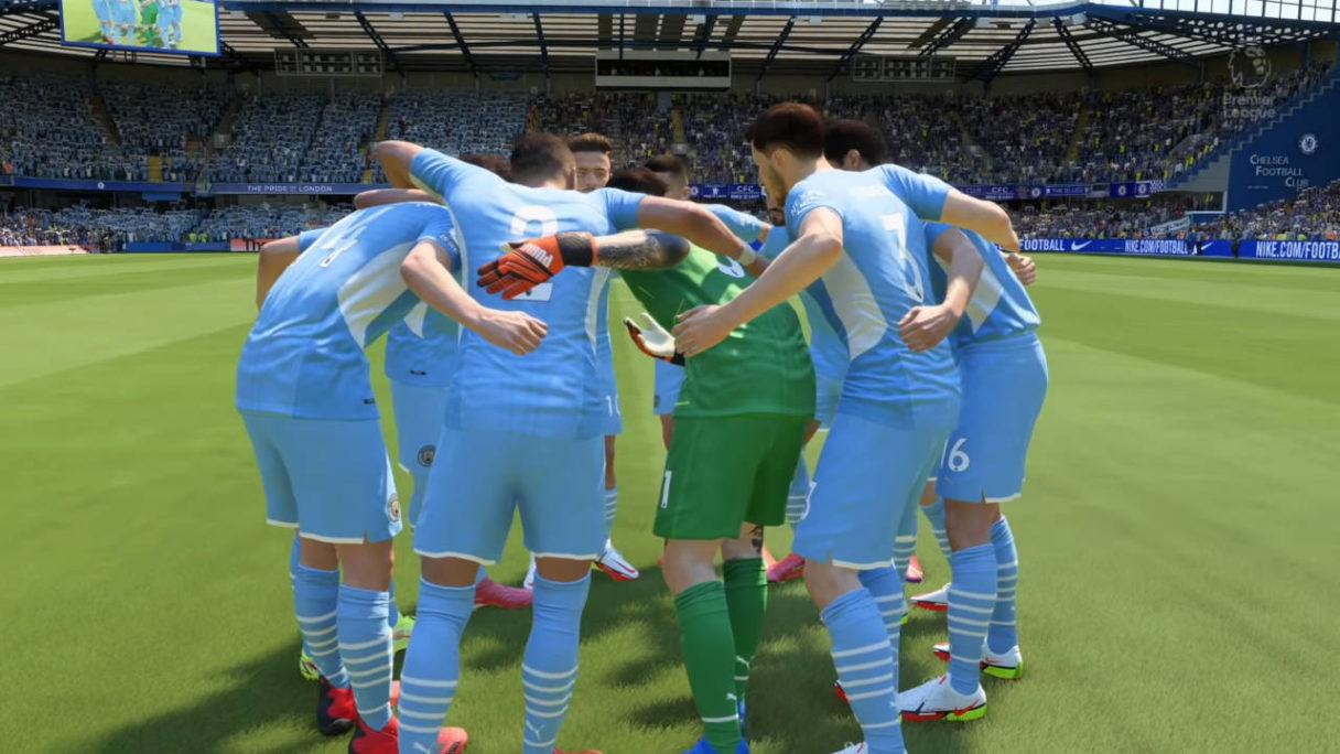 FIFA 22 - Manchester City - zawodnicy naradzają się przed rozpoczęciem meczu- PG