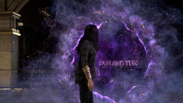 Kobieta stoi przed fioletowym portalem.