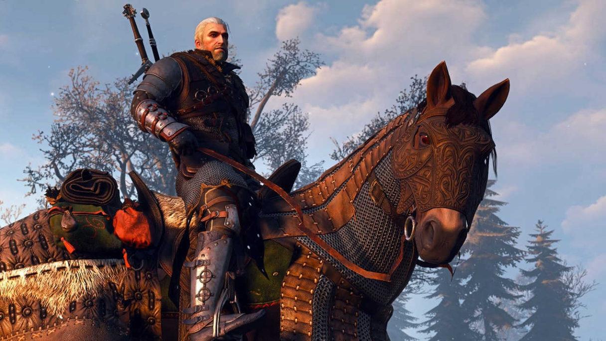 Geralt w zbroi siedzi na Płotce.