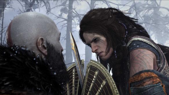 God of War - Kratos walczy z kobietą.