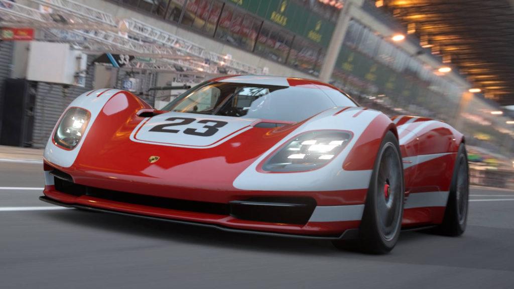 Gran Turismo 7 - Porshe 917 Living Legend jedzie przez tor wyścigowy