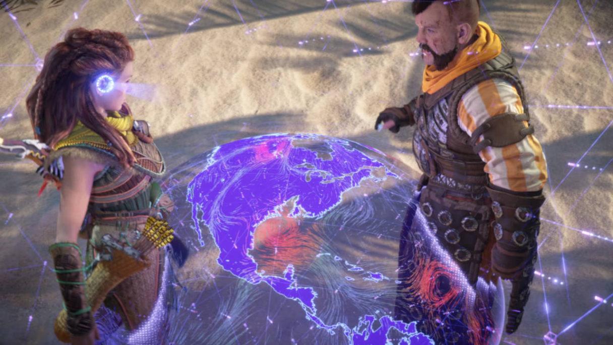 Horizon Forbidden West - Aloy i jej towarzysz patrzą na cyfrową mapę (hologram)