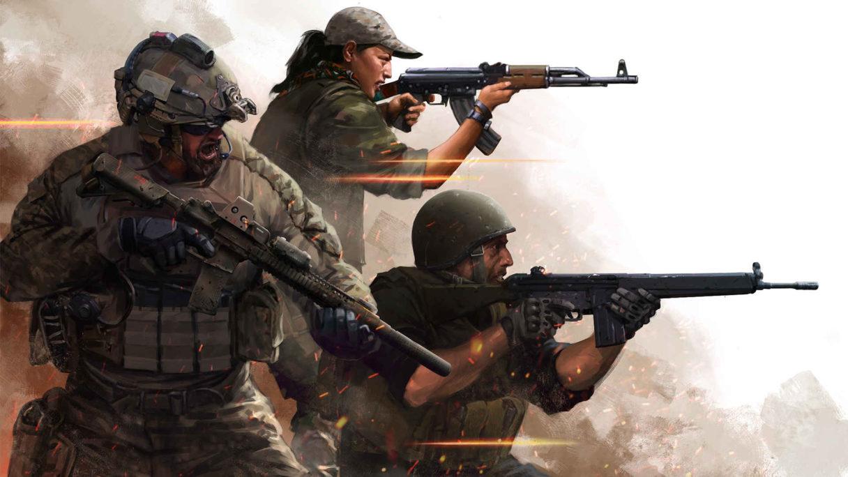 Żołnierze strzelają z karabinów.