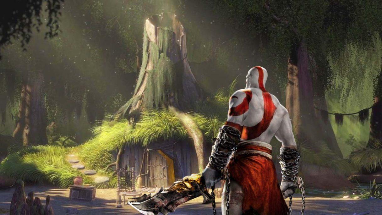 Kratos z God of War na bagnie Shreka