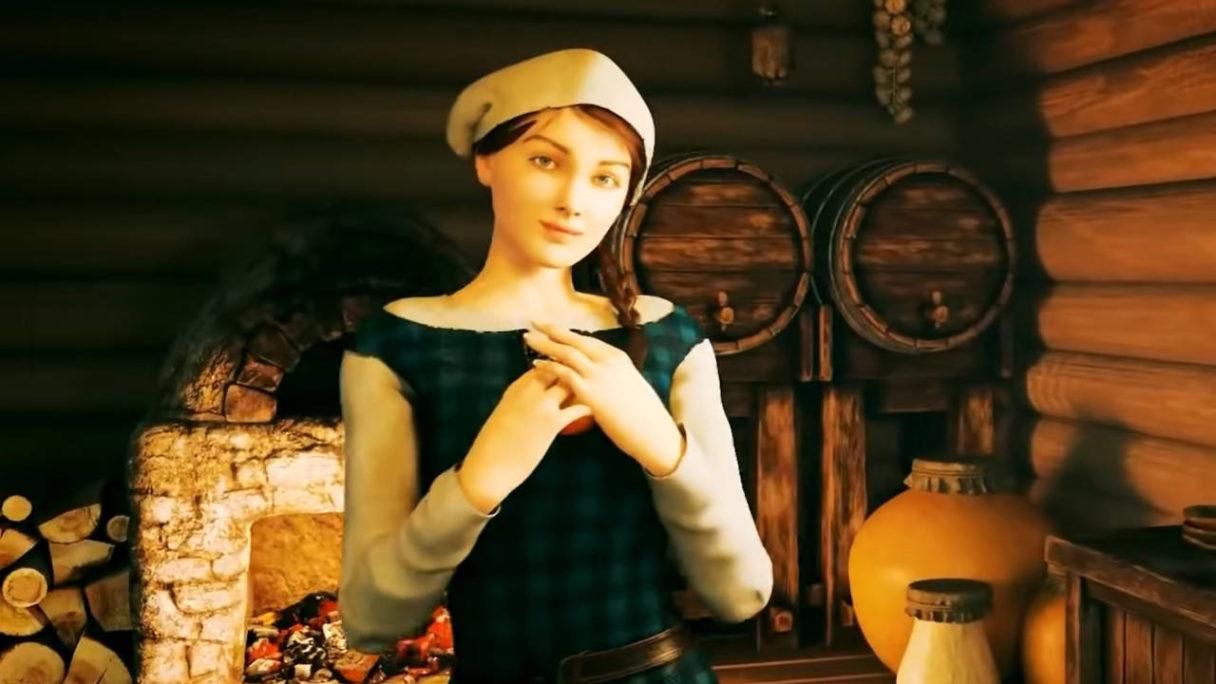 Medieval Dynasty - kobieta z jabłkiem patrzy na gracza zalotnym spojrzeniem- PG