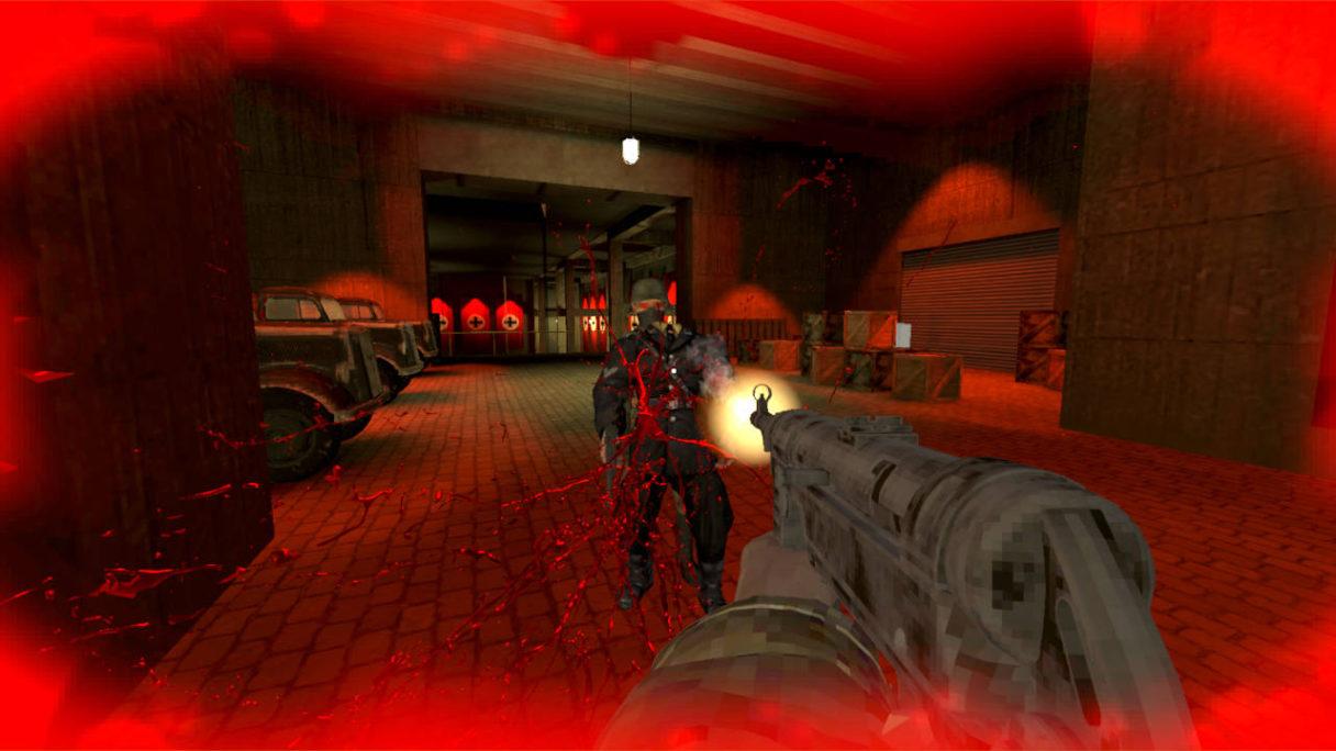 Żołnierz strzela do wroga w garażu. Wszędzie pełno krwi - kadr z Nazi Busters