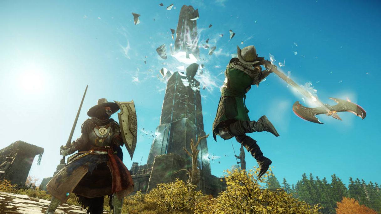 New World - dwójka graczy walczy ze sobą. Jeden z nich ma miecz i tarczę, a drugi topór, z którym rzuca się na tego pierwszego - PG
