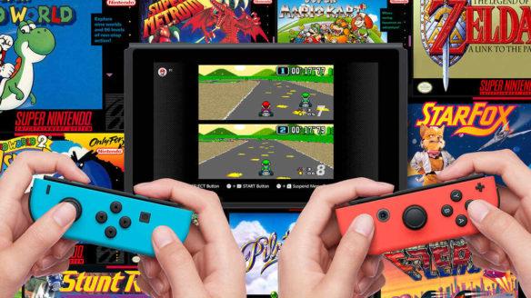 Nintendo Switch Online - dwójka graczy gra w Mario Kart ze SNES'a