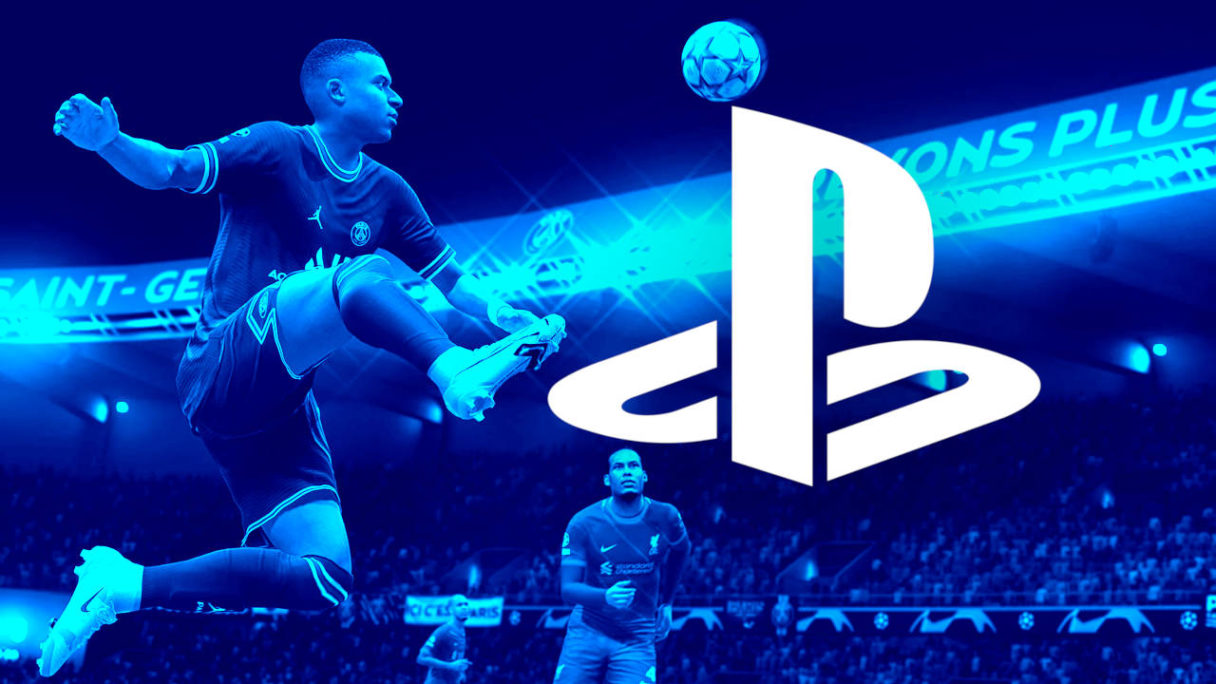 Nowe gry na PS4 - PS5 - kadr meczu z FIFA 22 w niebieskim filtrze z nałożonym logo PlayStation