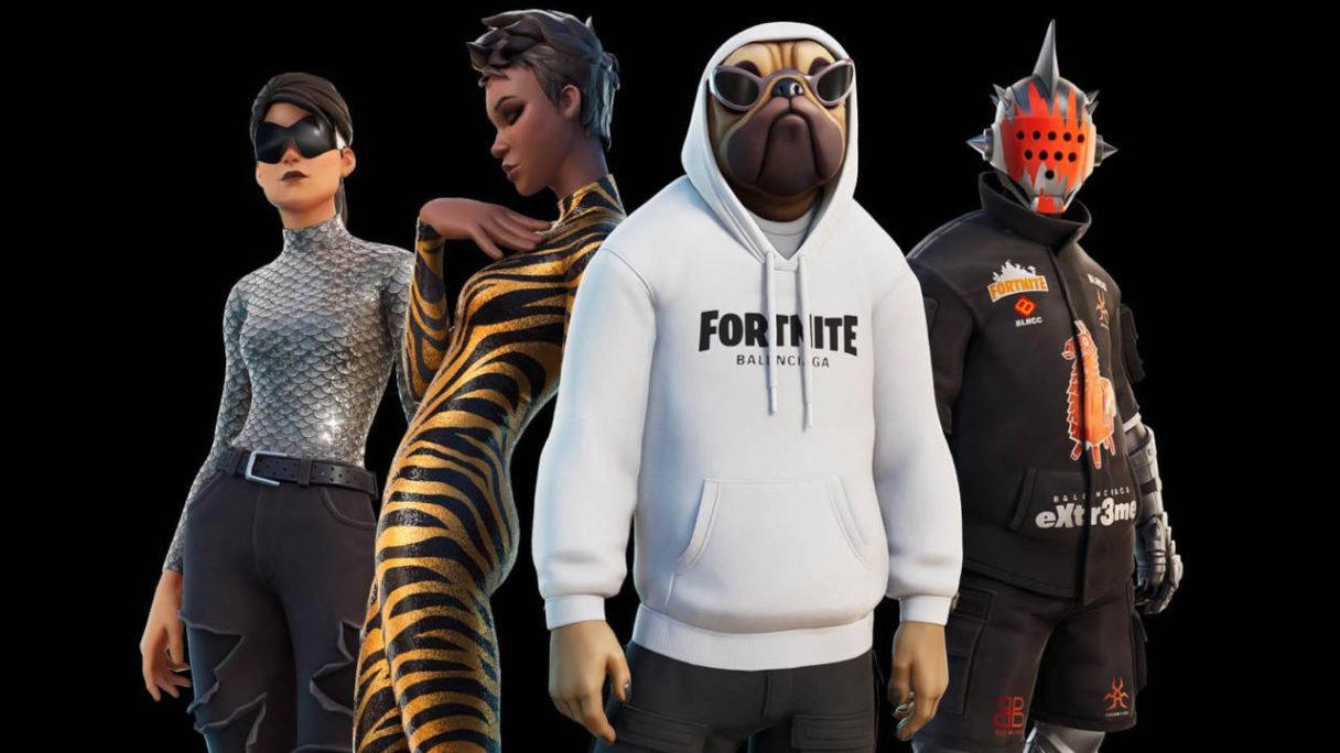 Nowe skiny w Fortnite - Balenciaga - czwórka bohaterów ubranych w ekskluzywne ciuchy