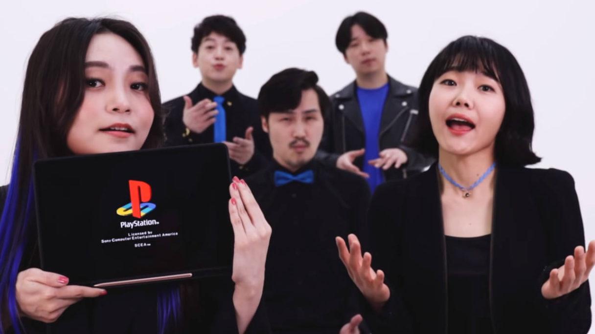 PlayStation Acapella - elegancko ubrany zespół śpiewa dźwięki znane z konsol PlayStation