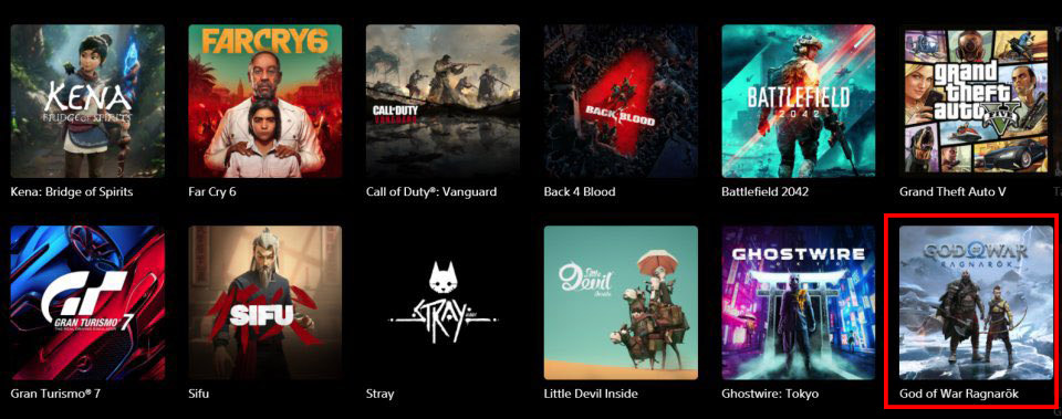Strona PlayStation z God of War Ragnarok i innymi grami