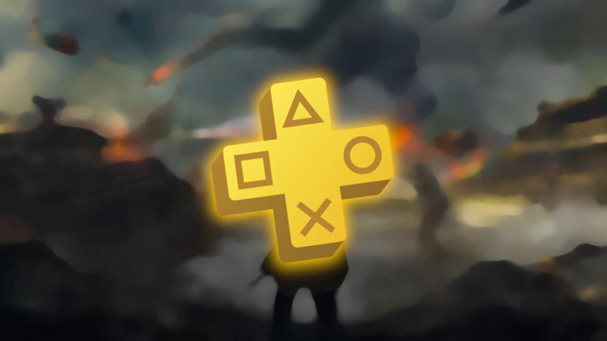 PS Plus październik 2021 - logo PS Plus na tle grafiki z poligonu z Hell Let Loose (rozmycie gaussowskie)