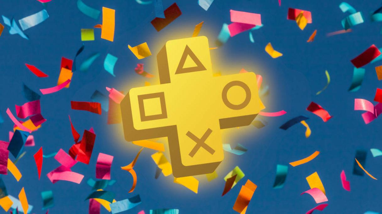PS Plus wrzesień 2021 - logo PS Plus, w tle lecące konfetti