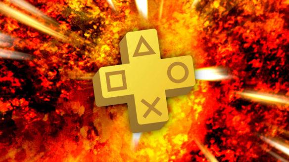 PS Plus wrzesień 2021 - logo PS Plus na tle wybuchu