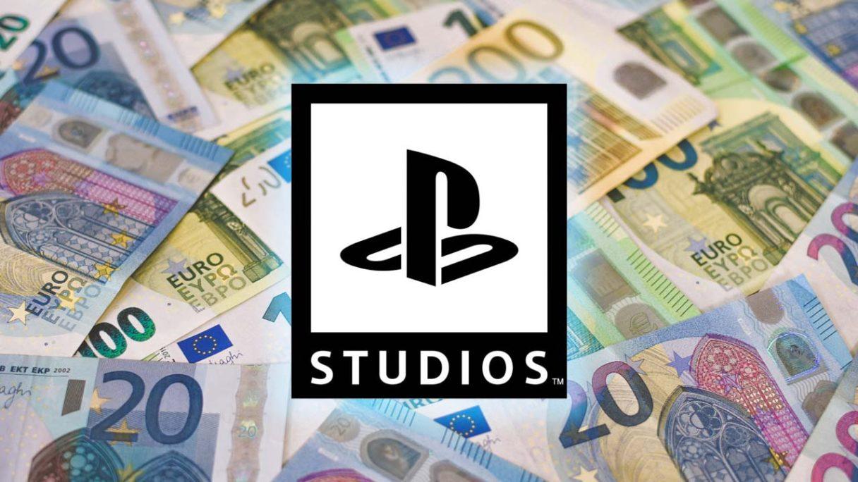 Logo PlayStation Studios na tle pieniędzy