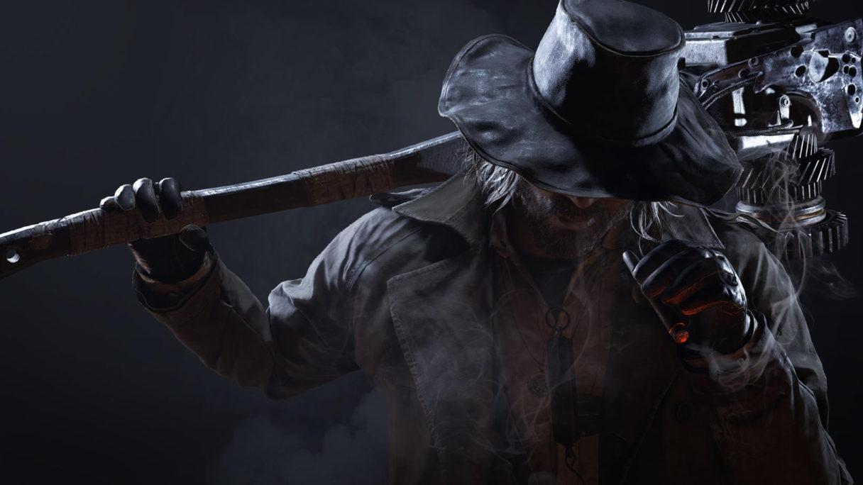 Postać w kapeluszu i gigantyczną bronią.