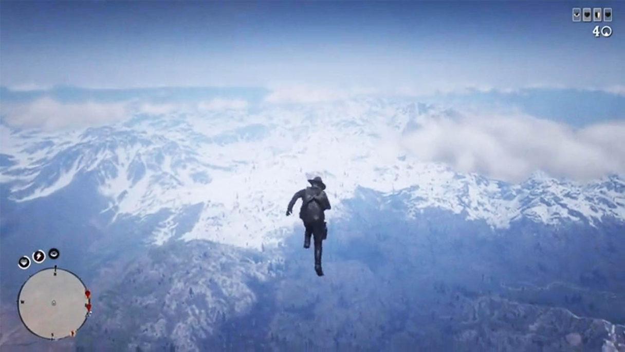 Red Dead Online - gracz wystrzelony do nieba