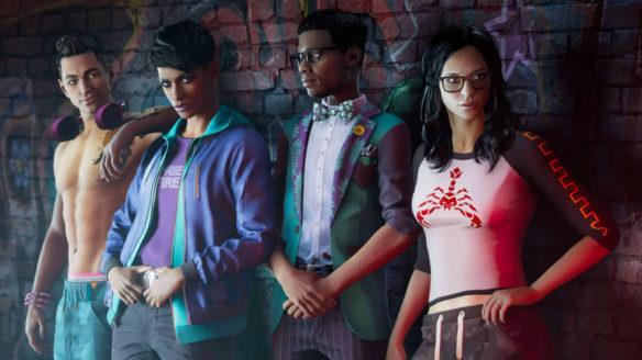 Saints Row - gang świętych - czwórka bohaterów stoi pod ścianą, chłopak z lewej nie ma koszulki