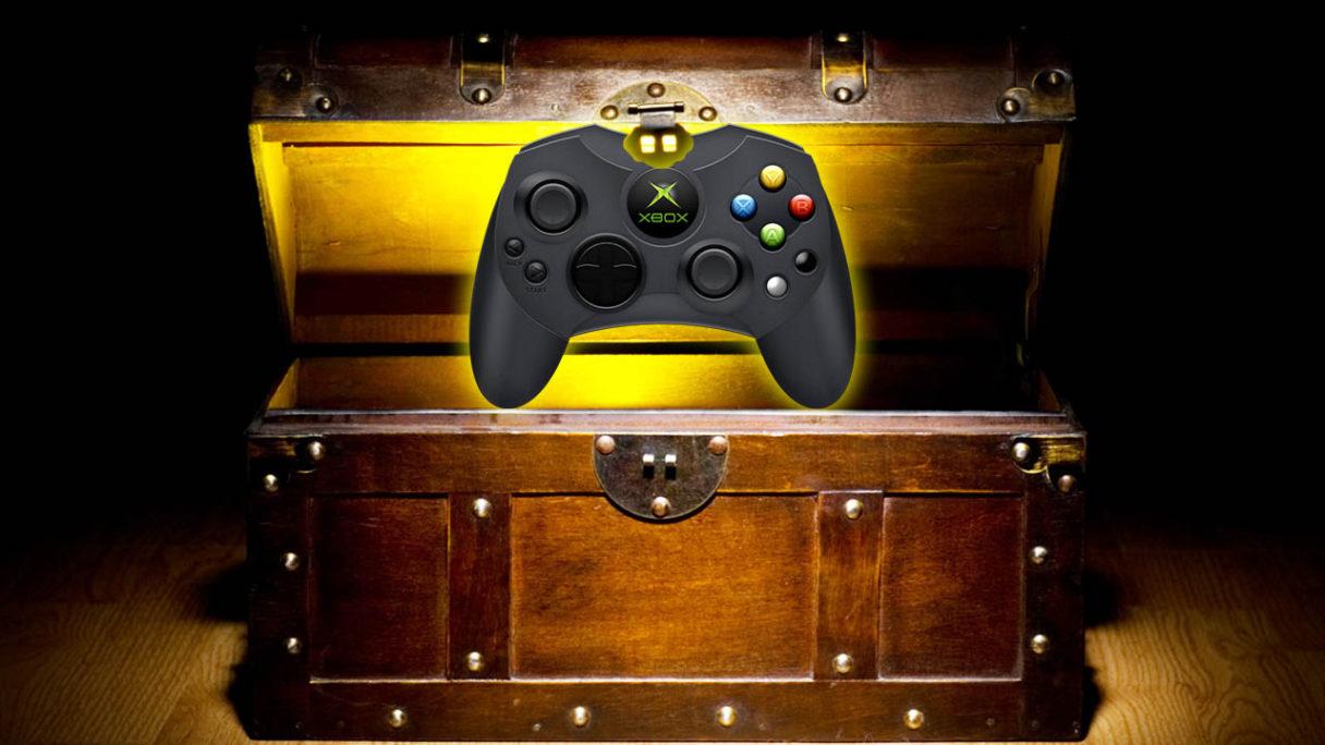 Skrzynia ze skarbem i kontroler Xbox