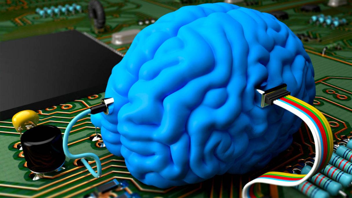 SSD do gier czy do mózgu - render niebieskiego mózgu podłączonego do układu scalonego