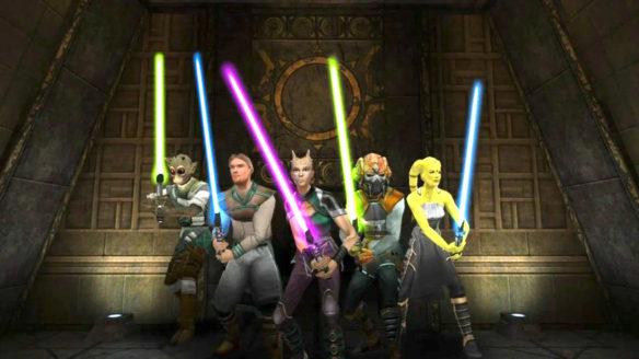 Star Wars Jedi Academy - jedi z mieczami świetlnymi, różne rasy. Wyglądają na gotowych do walki