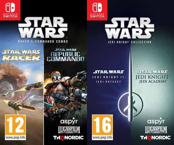 Star Wars - okładki Star Wars Jedi Knight Collection oraz Star Wars Racer and Commando Combo na Nintendo Switch