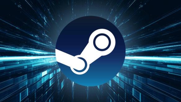 logo Steam na tle futurystycznej abstrakcji przypominającej podróż w czasie