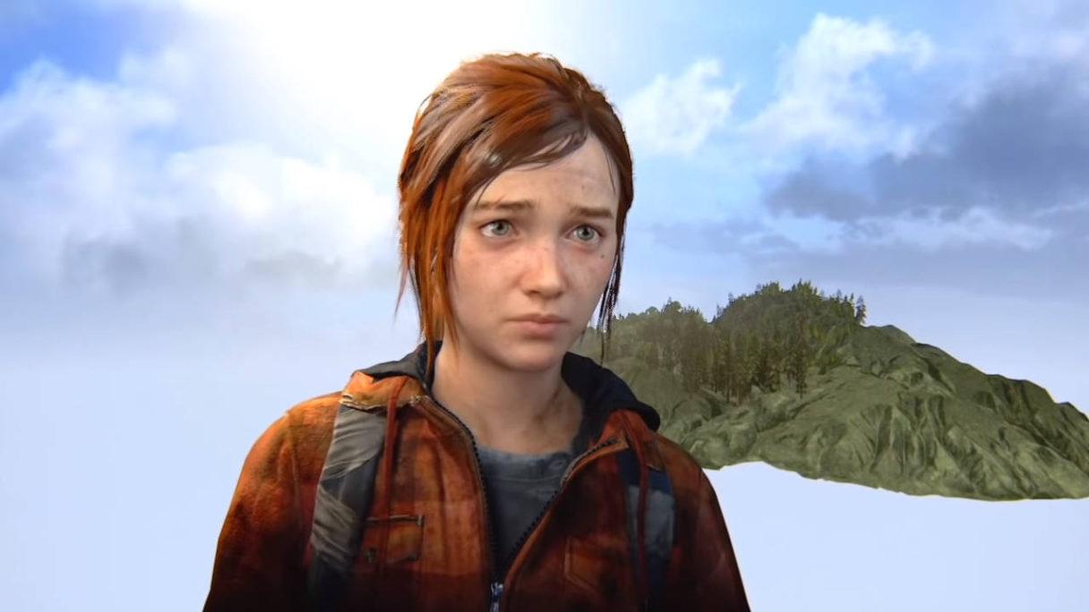 The Last of Us 2 - Ellie stoi na tle wszechotaczającego nieba (bez podłoża), na tle fragment gór z płaskimi teksturami drzew z zastosowaną technologią Billboard