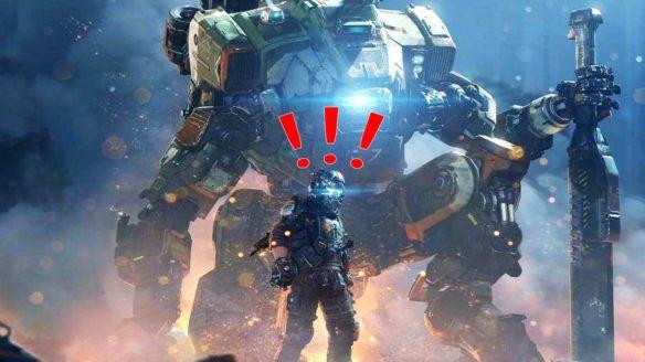 Titanfall 2 - mech i postać z wykrzyknikami nad głową