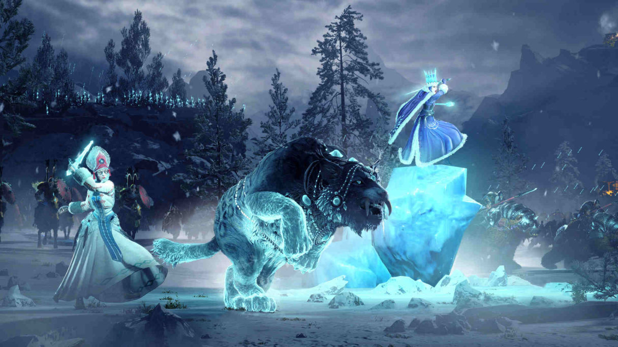 Lodowa czarodziejka walczy z lodowym potworem.