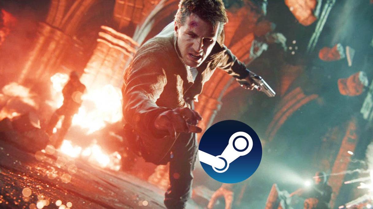 Uncharted na PC - Nathan Drake łapiący logo Steam