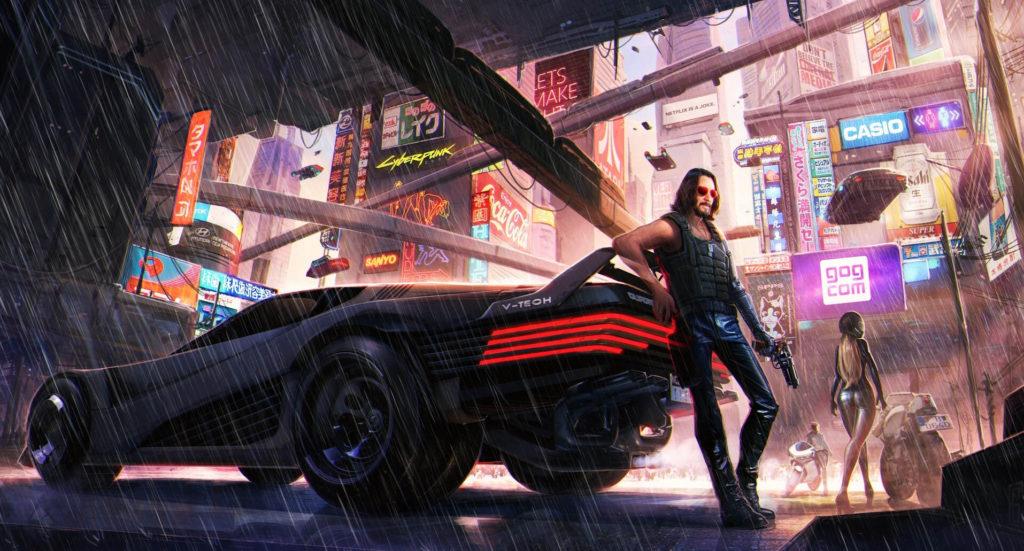 Keanu Reeves opiera się o samochód w Cyberpunk 2077
