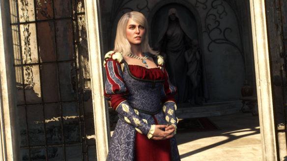 Wiedźmin 3 Dziki Gon - mod Elegant Keira - Keira w przepięknej, eleganckiej sukni stoi w