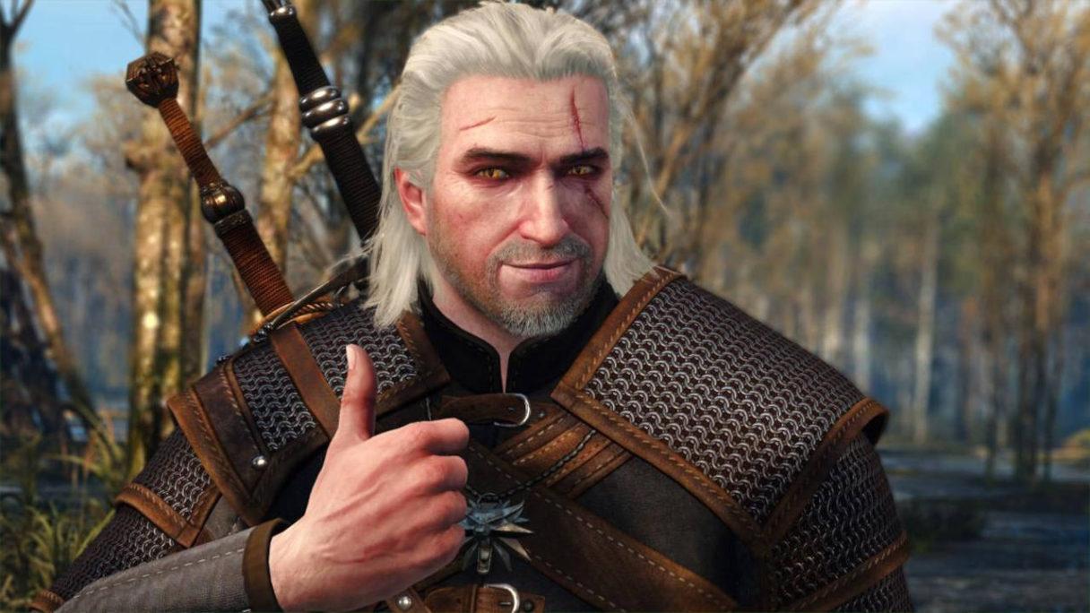 Wiedźmin 3: Dziki Gon - Geralt na bagnie uśmiecha się i daje kciuka w górę