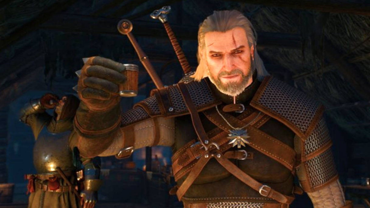 Wiedźmin 3 - Geralt trzyma trunek do toastu i się cieszy, że zaraz się napije