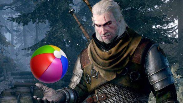 Wiedźmin Geralt z piłką dla dzieci
