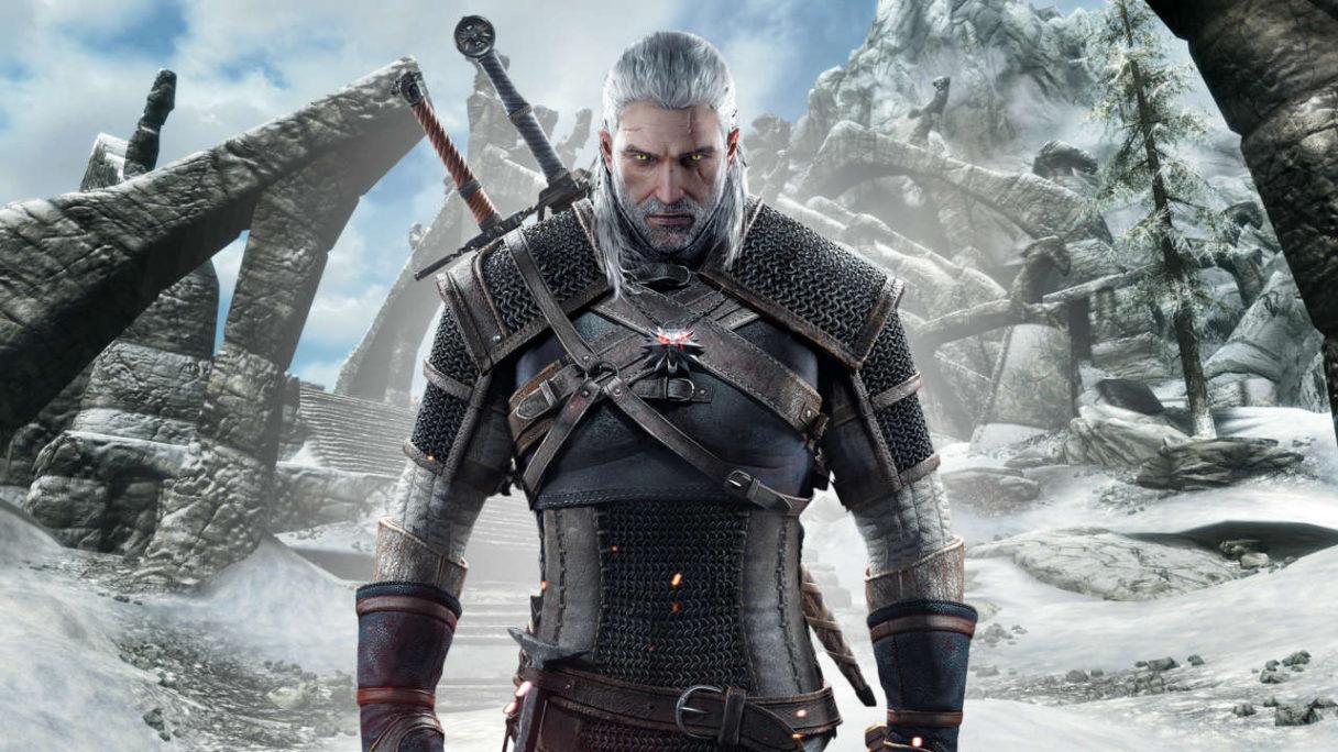 Wiedźmin x Skyrim - Geralt na tle gór ze Skyrima- PG