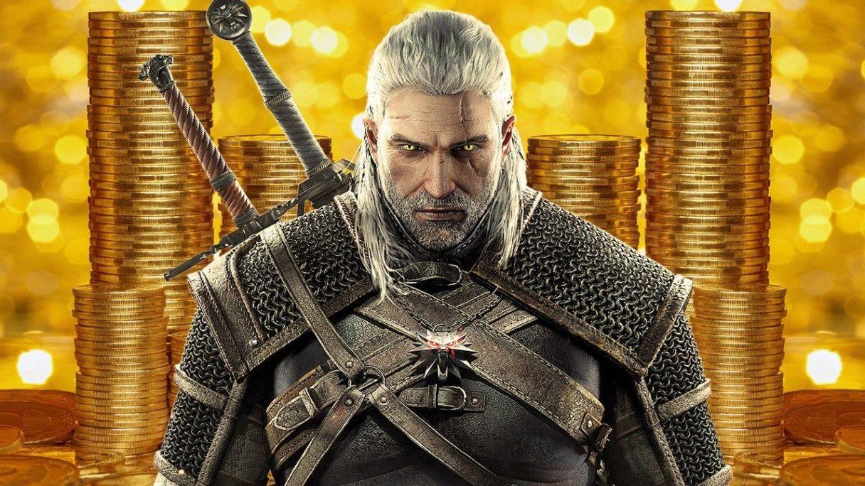 Geralt z pieniędzmi w tle.