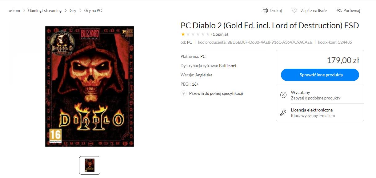 Diablo II w ofercie X-Kom