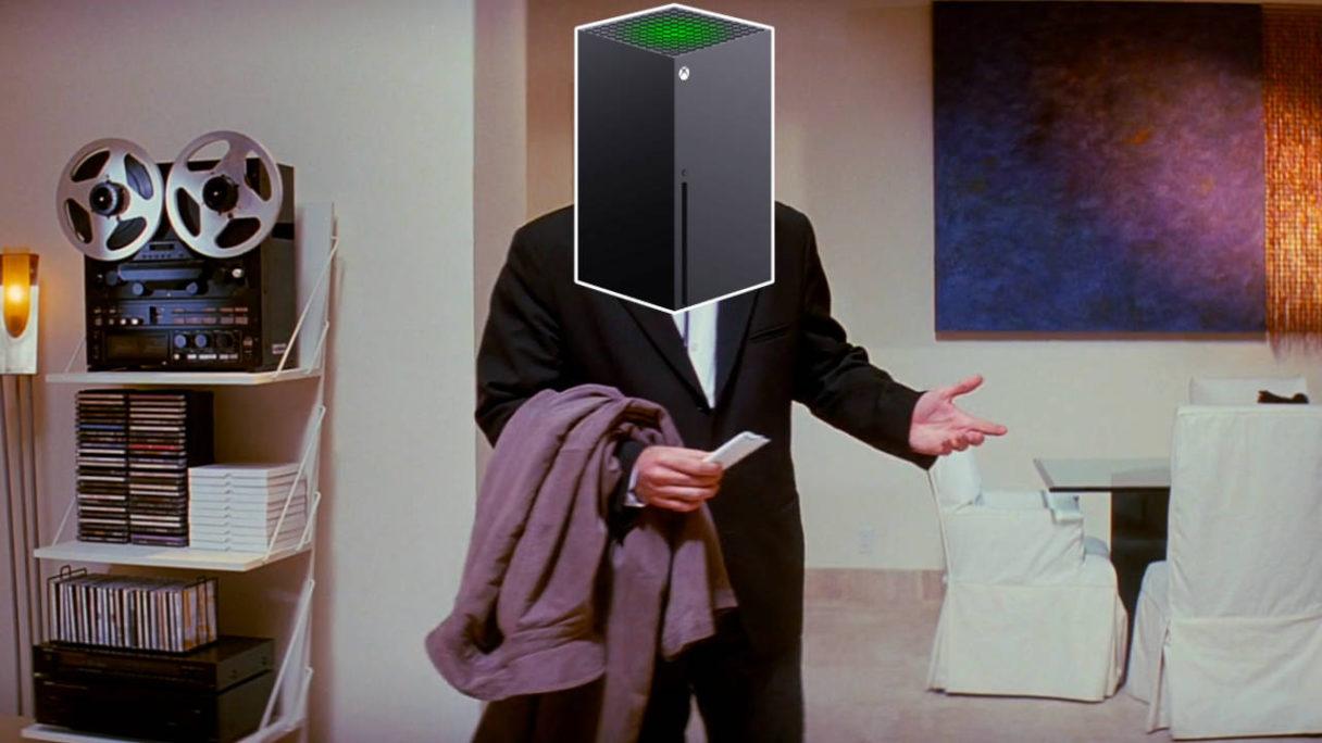 meme Confused Travolta z nałożonym na twarz bohatera Xbox Series X