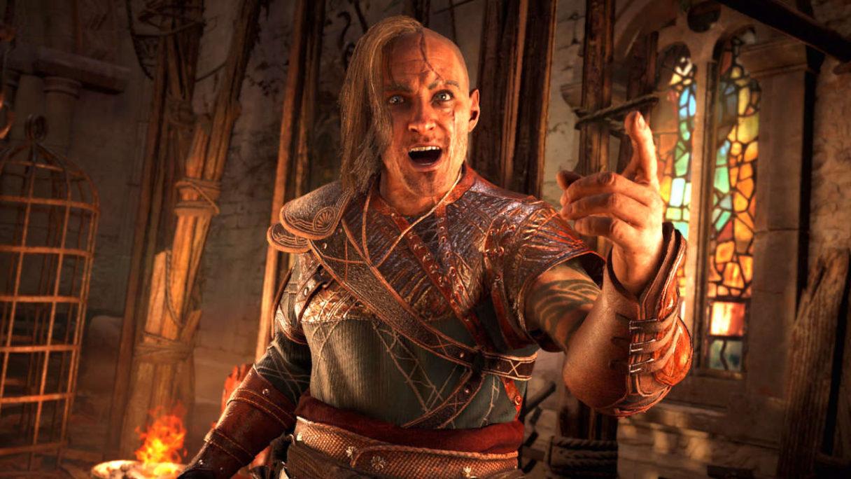 Assassin's Creed Valhalla - stanowczy NPC z pochodnią gestykuluje ręką - PG