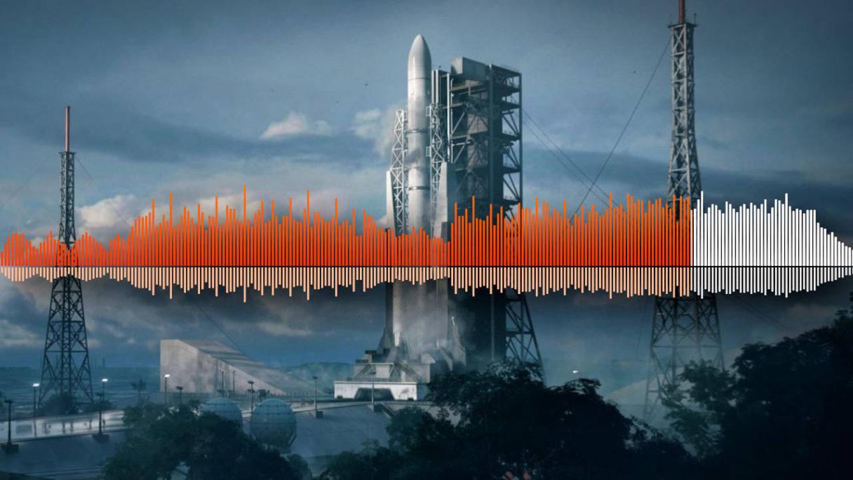Battlefield 2042 - audio spectrum utworu na tle mapy Orbital - PG
